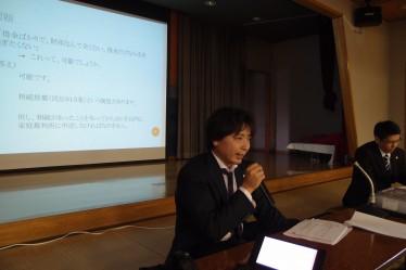 講演する福本康一弁護士(寺尾地区センター)